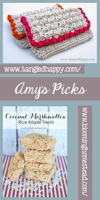 Amy's Picks |DIY Anthropologie Inspired Summer Clutch/Coconut Rice Krispie Treats  | Tuesday PIN-spiration Link Party