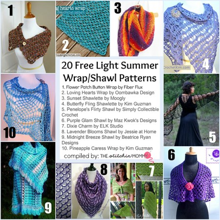 20 Free Light Summer Wrap/Shawl Patterns compiled by The Stitchin' Mommy | www.thestitchinmommy.com