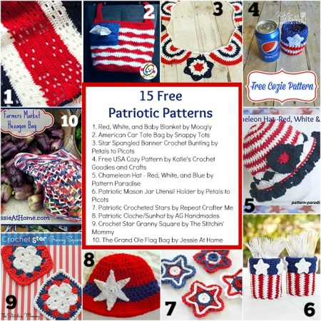 15 Free Patriotic Patterns compiled by The Stitchin' Mommy   www.thestitchinmommy.com #patriotic #redwhiteandblue #USA #America #4thofJuly #MemorialDay #LaborDay