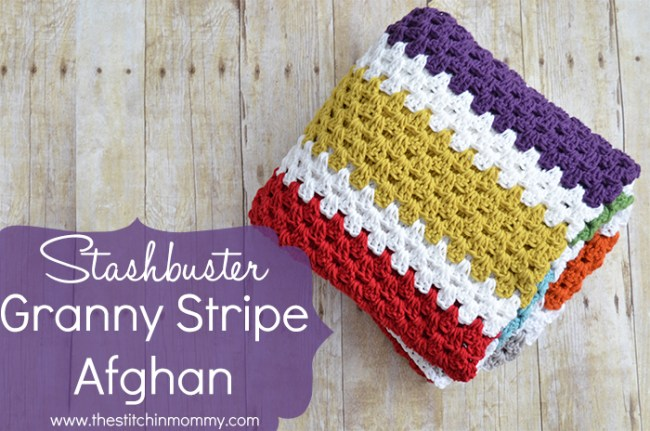 Stashbuster Granny Stripe Afghan - Free Pattern | www.thestitchinmommy.com #granny #tripe #afghan #stashbuster #baby #neutral