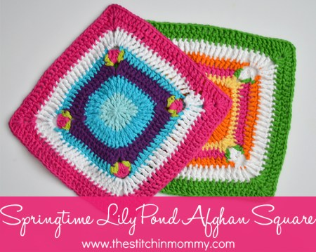 Springtime Lily Pond Square - Free Pattern | www.thestitchinmommy.com #spring #afghan #square #lily #flower #pond
