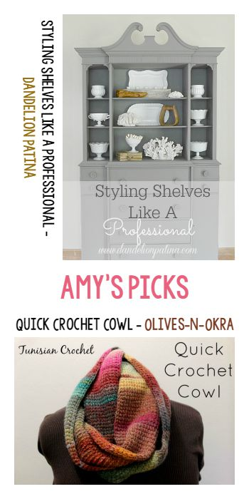 Amy's Picks |Styling Shelves like a Professional/Quick Crochet Cowl | Tuesday PIN-spiration Link Party www.thestitchinmommy.com