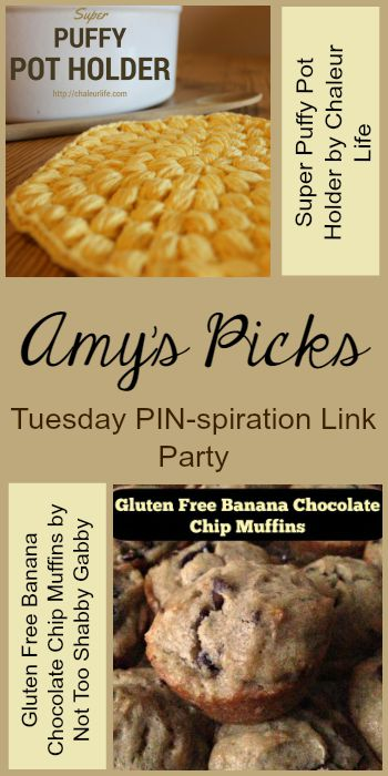 Amy's Picks |Super Puffy Pot Holder/Gluten Free Banana Chocolate Chip Muffins | Tuesday PIN-spiration Link Party www.thestitchinmommy.com