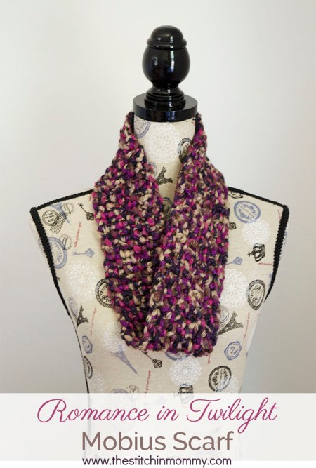 Romance in Twilight Mobius Scarf - Free Pattern | www.thestitchinmommy.com #redheart #boutique #twilight #yarn #review
