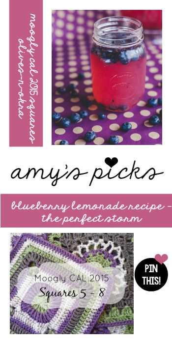 Amy's Picks | Moogly CAL 2015 Squares/Blueberry Lemonade Recipe | Tuesday PIN-spiration Link Party www.thestitchinmommy.com