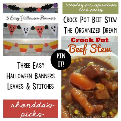 Rhondda's Picks | Three Easy Halloween Banners/Crock Pot Beef Stew | Tuesday PIN-spiration Link Party www.thestitchinmommy.com