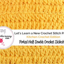 Let's Learn a New Crochet Stitch Pattern Kitchen Crochet Edition - Forked Half Double Crochet Stitch Tutorial and Dishcloth Pattern | www.thestitchinmommy.com