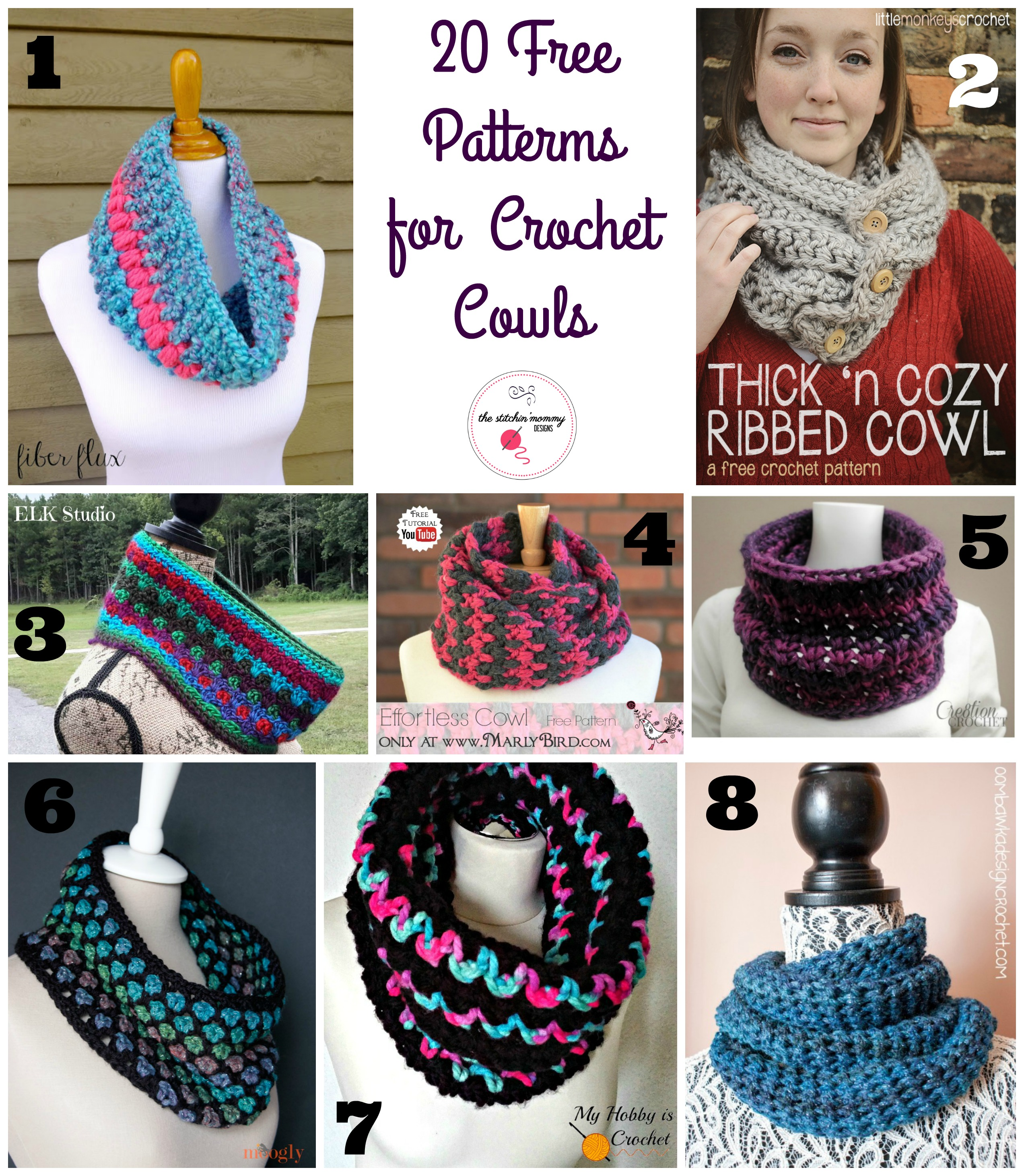 20 Free Patterns for Crochet Cowls - The Stitchin Mommy