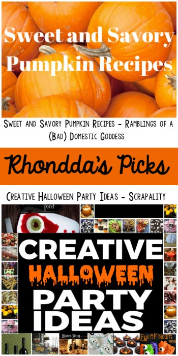 Rhondda's Picks | Sweet & Savory Pumpkin Recipes/Creative Halloween Party Ideas | Tuesday PIN-spiration Link Party www.thestitchinmommy.com