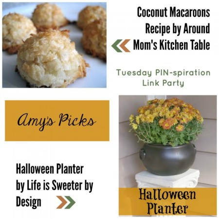 Amy's Picks | Coconut Macaroons/Halloween Planter | Tuesday PIN-spiration Link Party www.thestitchinmommy.com