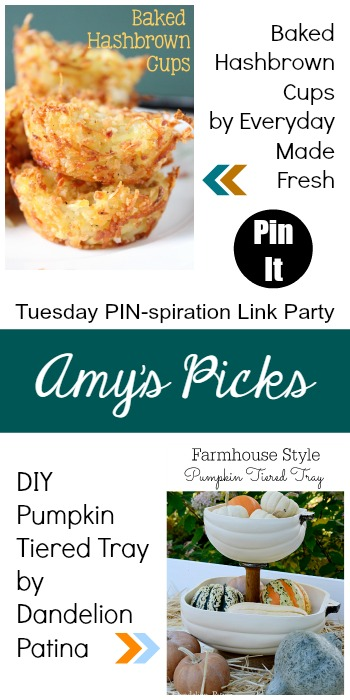 Amy's Picks | Baked Hashbrown Cups/DIY Pumpkin Tiered Tray | Tuesday PIN-spiration Link Party www.thestitchinmommy.com
