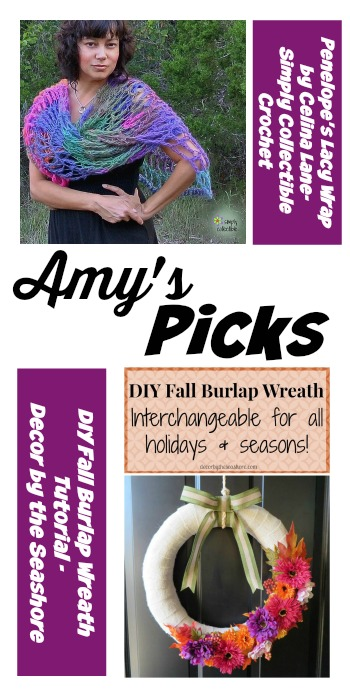 Amy's Picks | Penelope's Lacy WrapDIY Fall Burlap Wreath | Tuesday PIN-spiration Link Party www.thestitchinmommy.com
