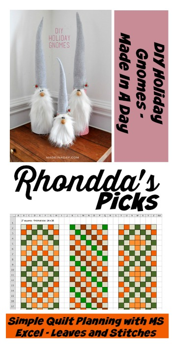 Rhondda's Picks | DIY Holiday Gnomes/Simple Quilt Planning with MS Excel | Tuesday PIN-spiration Link Party www.thestitchinmommy.com