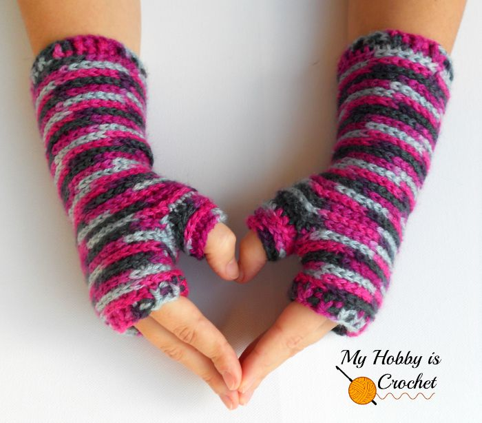 Crochet Fingerless Mittens Free Pattern The Stitchin Mommy
