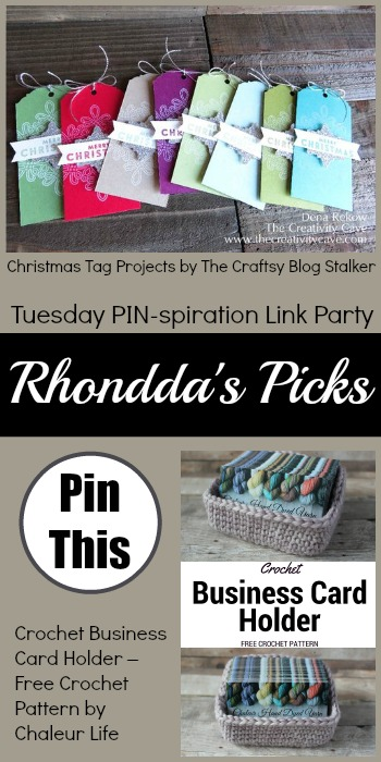 Rhondda's Picks | Christmas Tag Projects/Crochet Business Card Holder | Tuesday PIN-spiration Link Party www.thestitchinmommy.com