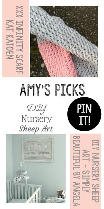 Amy's Picks | XXX Infinity Scarf/DIY Nursery Sheep Art | Tuesday PIN-spiration Link Party www.thestitchinmommy.com