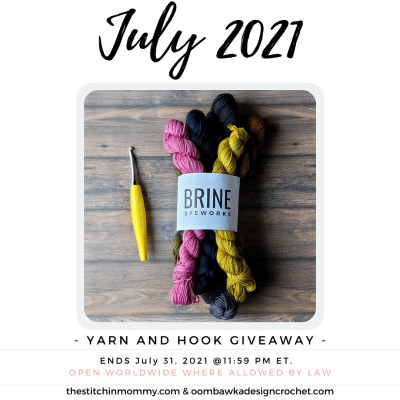 July Yarn and Hook Giveaway featuring Brine Dyeworks