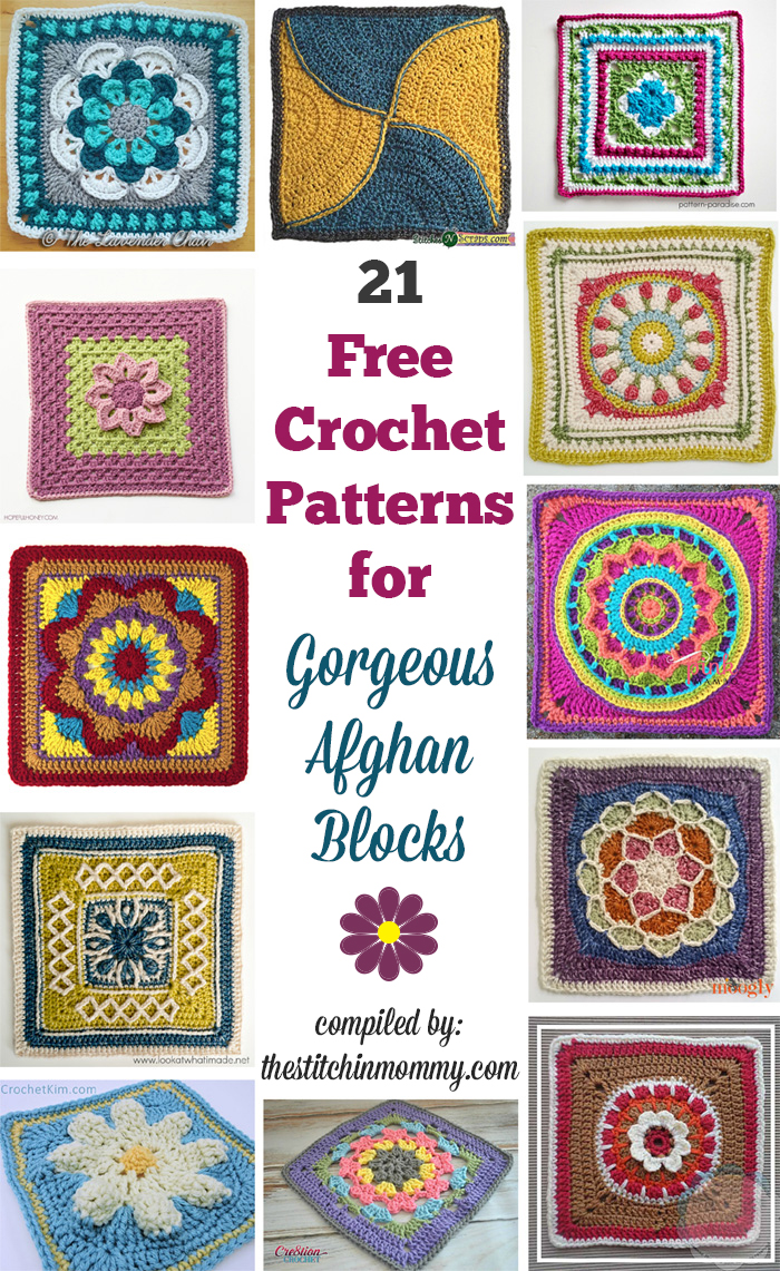 21 Free Crochet Patterns for Gorgeous Afghan Blocks - The Stitchin Mommy