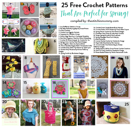 25 Free Crochet Patterns That Are Perfect for Spring! - Compiled by The Stitchin' Mommy | www.thestitchinmommy.coC