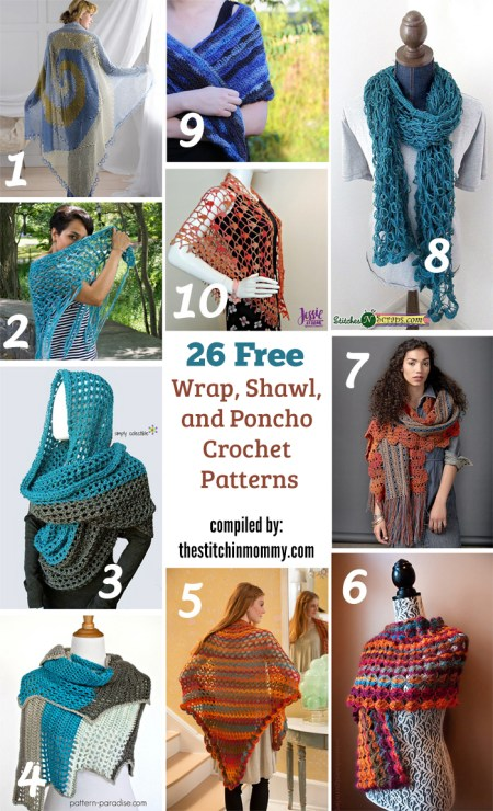 26 Free Wrap, Shawl, and Poncho Crochet Patterns compiled by The Stitchin' Mommy | www.thestitchinmommy.com
