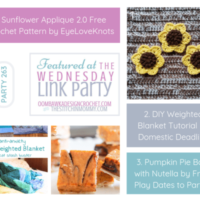 The Wednesday Link Party 263 featuring a Crochet Sunflower Applique