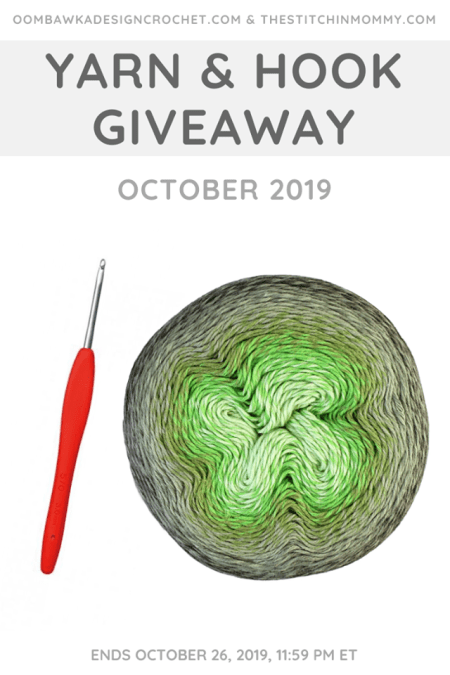 Yarn and Hook Giveaway - October 2019 | Hosted by The Stitchin' Mommy and Oombawka Design: October 19, 2019 - October 26, 2019 | www.thestitchinmommy.com