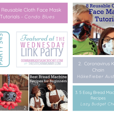 The Wednesday Link Party 343 featuring 8 Reusable Cloth Face Masks