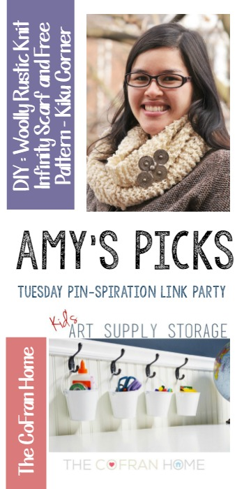 Amy's Picks | DIY Woolly Rustic Knit Infinity Scarf/Kids Art Supply Storage | Tuesday PIN-spiration Link Party www.thestitchinmommy.com