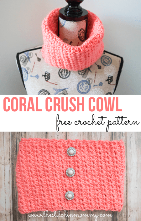 Coral Crush Cowl - Free Crochet Pattern - Scarf of the Month Club hosted by The Stitchin' Mommy and Oombawka Design | www.thestitchinmommy.com #ScarfoftheMonthClub2017