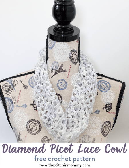 Diamond Picot Lace Cowl - Free Crochet Pattern - Scarf of the Month Club hosted by The Stitchin' Mommy and Oombawka Design | www.thestitchinmommy.com #ScarfoftheMonthClub2018
