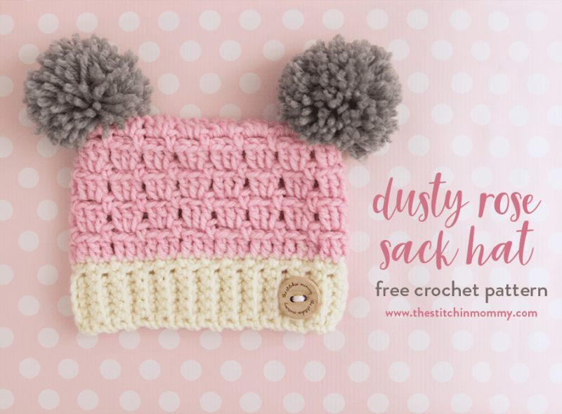Dusty Rose Sack Hat Free Crochet Pattern In Several Sizes The