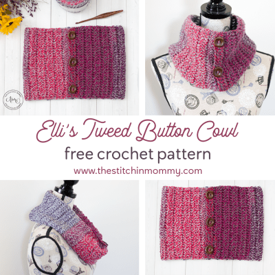 Elli's Tweed Button Cowl – Free Crochet Pattern