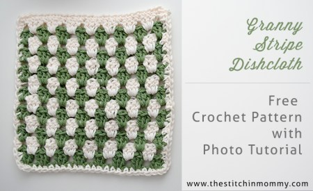 Let's Learn a New Crochet Stitch Pattern: Kitchen Crochet Edition: Granny Stripe Dishcloth Free Crochet Pattern and Photo Tutorial | www.thestitchinmommy.com