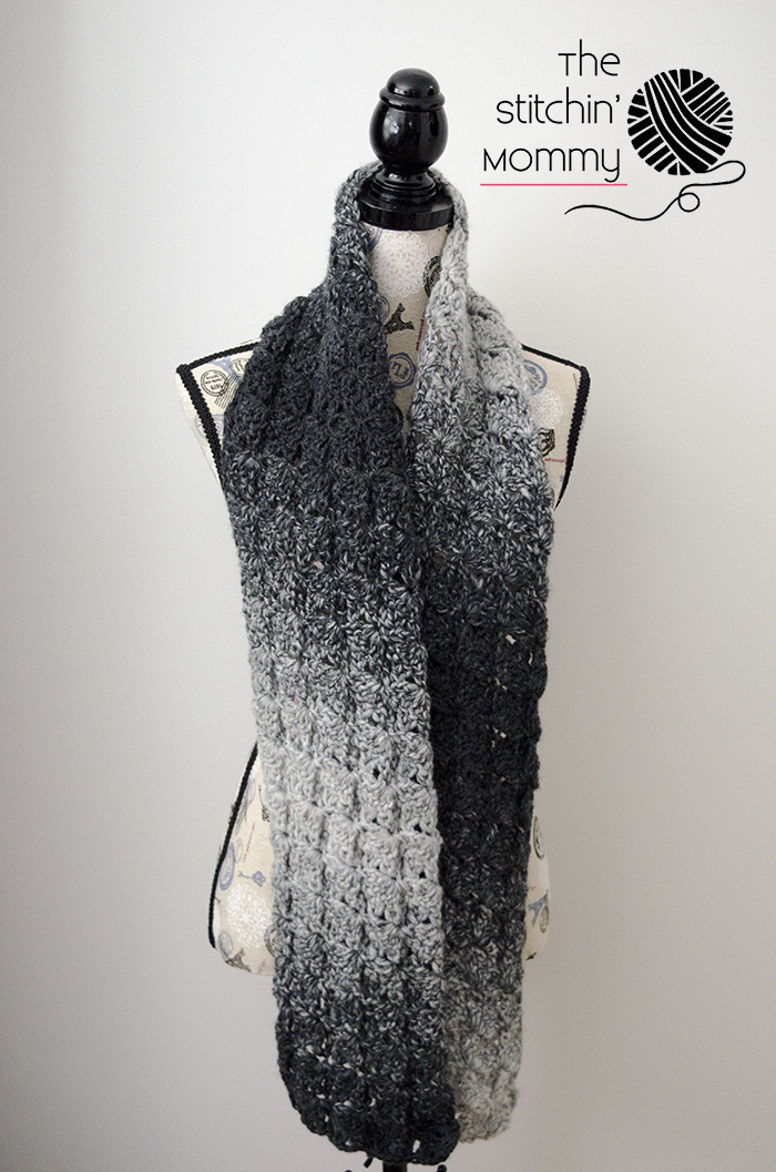 Gray Shells Scarf - Free Crochet Pattern - Scarf of the Month Club hosted by The Stitchin' Mommy and Oombawka Design | www.thestitchinmommy.com