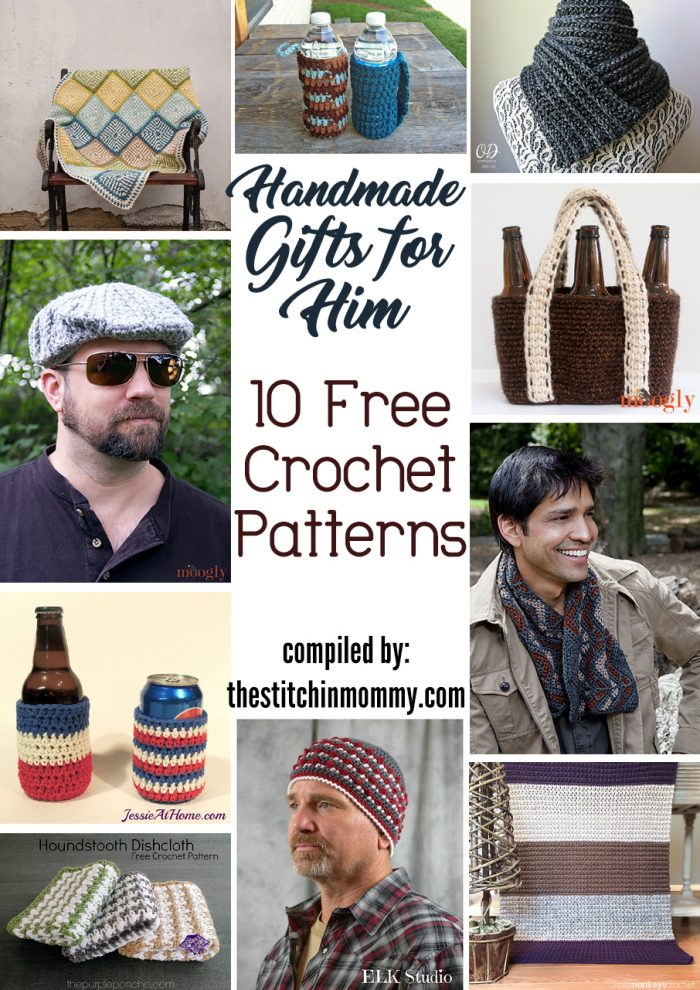 Handmade Gifts For Him - 10 Free Crochet Patterns compiled by The Stitchin' Mommy | www.thestitchinmommy.com