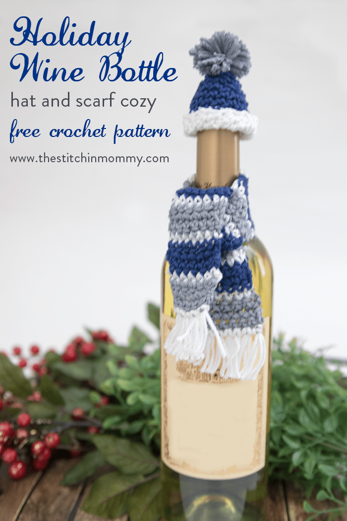 Holiday Wine Bottle Hat And Scarf Cozy Free Crochet Pattern