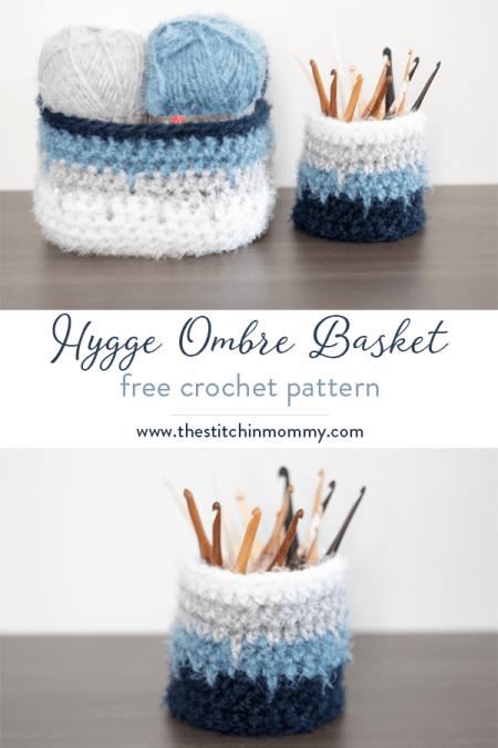Hygge Ombre Basket - Free Crochet Pattern | www.thestitchinmommy.com #hyggehome #hyggehomecal #calcentralcrochet #redheartyarns