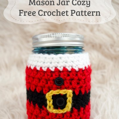Little Santa Mason Jar Cozy – Free Crochet Pattern