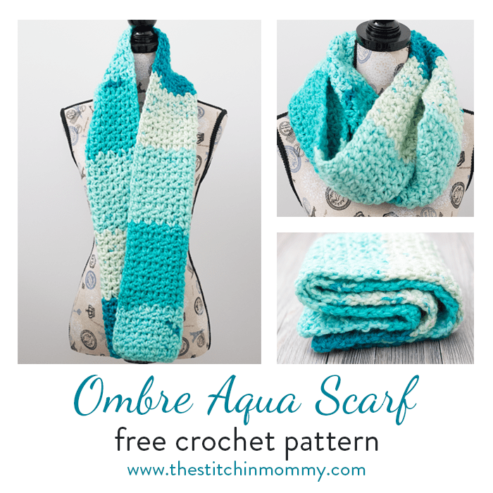 Ombre Aqua Scarf Free Crochet Pattern The Stitchin Mommy