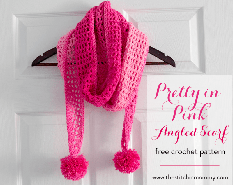 Pretty In Pink Angled Scarf Free Crochet Pattern The
