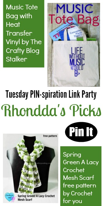 Rhondda's Picks | Music Tote Bag/Spring Green A Lacy Crochet Mesh Scarf | Tuesday PIN-spiration Link Party www.thestitchinmommy.com