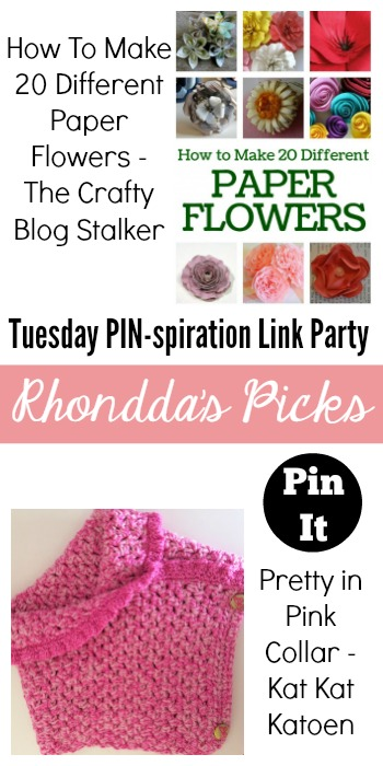 Rhondda's Picks | How to Make 20 Different Paper Flowers/Pretty In Pink Collar | Tuesday PIN-spiration Link Party www.thestitchinmommy.com