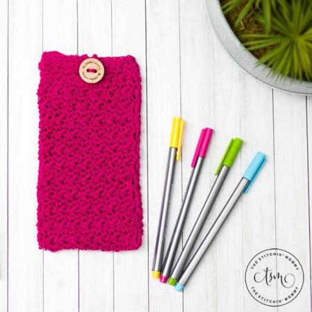 Simple Pencil Pouch/Hook Case - Free Crochet Pattern   www.thestitchinmommy.com #oneskeinwonder #designcreaterepeat