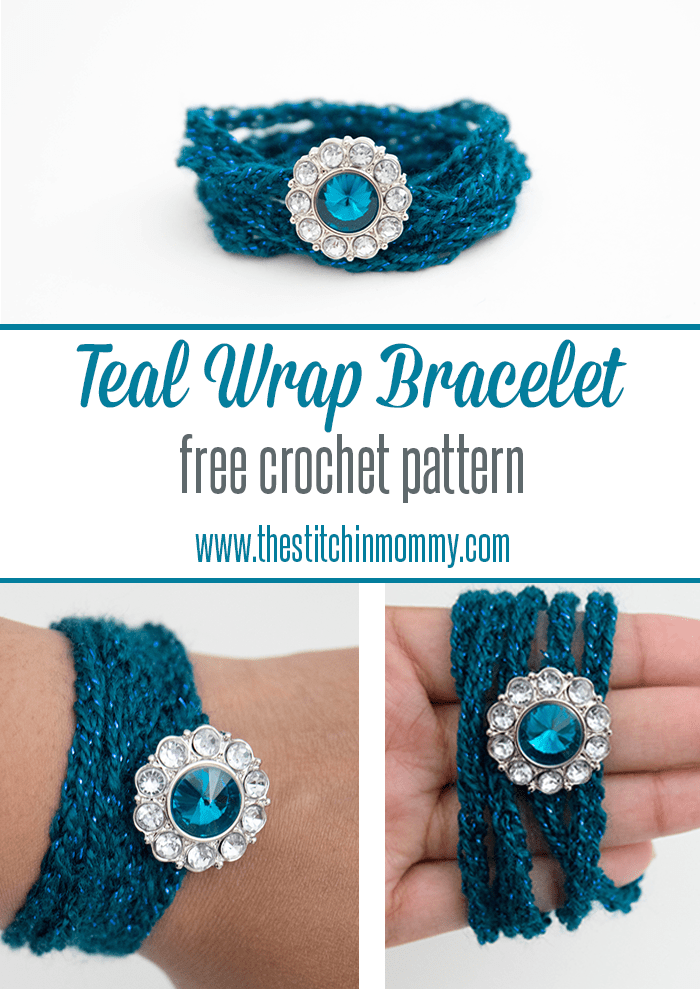 Teal Wrap Bracelet - Free Crochet Pattern | www.thestitchinmommy.com