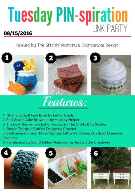 The NEW Tuesday PIN-spiration Link Party Week 10 (8/15/2016) - Rhondda and Amy's Favorite Projects | www.thestitchinmommy.com