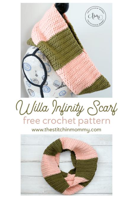 Willa Infinity Scarf - Free Crochet Pattern #ScarfHatoftheMonthClub2020 | www.thestitchinmommy.com