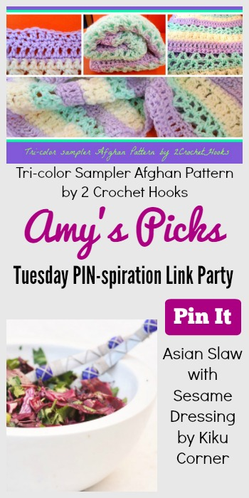 Amy's Picks | Tri-color Sampler Afghan Pattern/Asian Slaw Sesame Dressing| Tuesday PIN-spiration Link Party www.thestitchinmommy.com