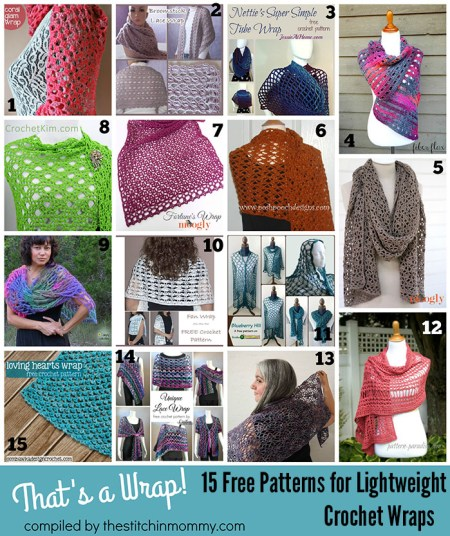That's a Wrap! - 15 Free Patterns for Lightweight Crochet Wraps Round Up Compiled by The Stitchin' Mommy | www.thestitchinmommy.com