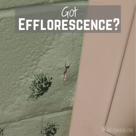 Efflorescence can present as paint bubbling and cracking! It's not mold! Does this look familiar?