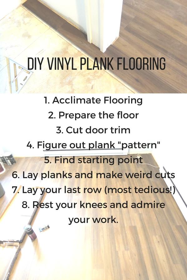 Vinyl Plank Flooring Tutorial No Nails No Glue The Stone Head - Preparing floor for vinyl plank flooring
